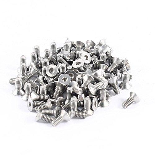 100-piezas-304hc-acero-inoxidable-hex-avellanado-plano-pernos-tornillos-m2-x-5-mm