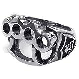 Anillo en forma de craneo de boxeo de hombres - TOOGOO(R) Anillo de joyeria de hombres, de acero inoxidable, en forma de craneo guantes de boxeo, negro + plata (12)