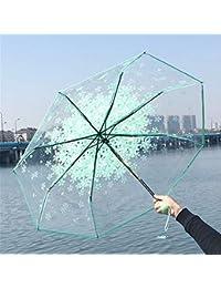 Singhi Paraguas Transparente Mujer,sombrilla Transparente Cereza en Flor Diámetro: 93 cm Aprox_Verde