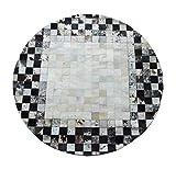 Oudan Bereich Teppiche Runde Leder Teppich Luxus Villen Rindsleder Teppich für Wohnzimmer Schlafzimmer Schwarz und Weiß Hand genäht Teppich (Größe: Diameter180cm) (Größe : Diameter180cm)