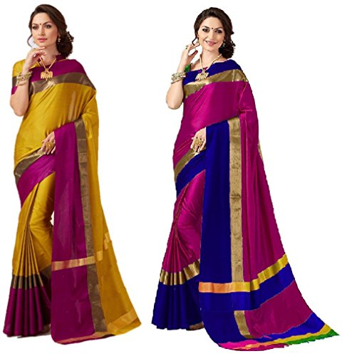Art Décor Sarees Women\'s Pack of 2 Sarees Cotton Silk Saree With Blouse (Pack of Two Sari) - More Then 30 Colors
