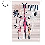 ShineSnow Safari Cartoon Giraffe Palme Garten Flagge Doppelseitig House Banner 30,5x 45,7cm, Cute Funny Animal Party Yard Home Outdoor Decor Flaggen, Textil, Multi, 12x18(in)