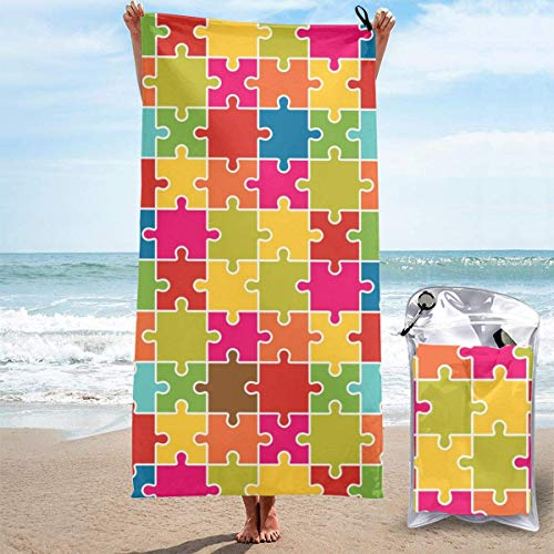 YUYUTE Strandtücher Für Frauen Männer Blanket Puzzle Games Pattern Bath Sheets Soft Polyester Swim Large Towel Cover for Yoga Mat Hiking Gym Tent Floor 27.5