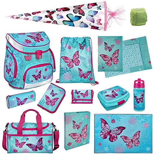 Scooli Butterfly Schulranzen-Set 13tlg. Campus Fit mit Sporttasche Schultüte 85cm Schmetterling-e und Blumen türkis Mädchen-Schulranzen Schulanfang -