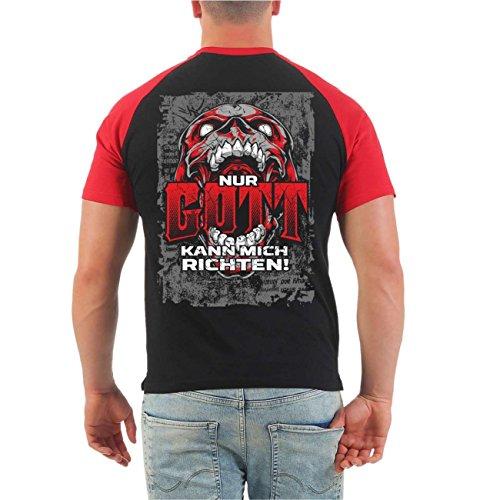 Männer und Herren T-Shirt La Familia Nur Gott kann mich richten (mit Rückendruck) Größe S - 8XL Schwarz/Rot