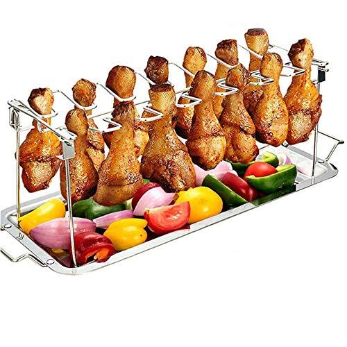 CXLY Soporte de Parrilla de Acero Inoxidable para alitas de Pollo con Bandeja de Goteo 12 Patas de Pollo...