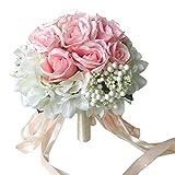 Chinashow Braut Hochzeit Bouquet Blumensträuße Künstliche Blumen Hochzeit Dekoration, Weiße und Rosa Rose