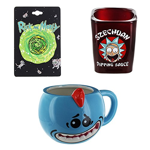 Rick and Morty Portal Pin, Mr. Meeseeks Molded Mug & Szechuan Dipping