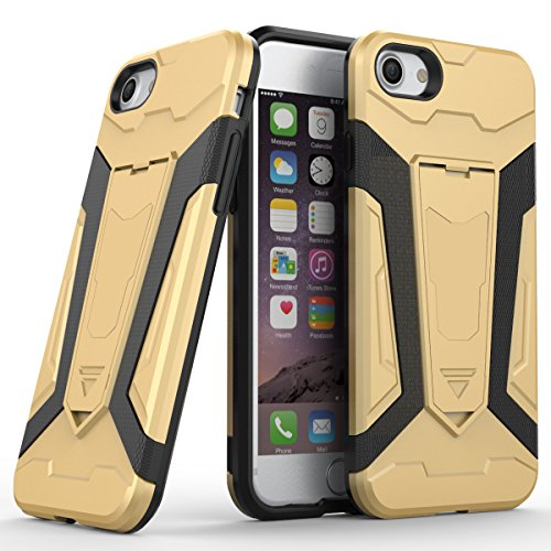 Apple iPhone 7 4.7 Coque, Voguecase [Armure Series] 2 in 1 Shockproof Hybrid Doux TPU and Hard PC Rugged Protective Rigide Plastique Shell Housse Coque Étui Avec Built-in KickSupporter(Marron) de Grat Or