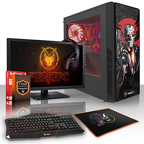 Fierce Hawk High-End RGB Gaming PC Bundeln - 3.8GHz Octa-Core AMD Ryzen 7 1700X, 240GB SSD, 2TB HDD, 8GB, NVIDIA GeForce RTX 2070 8GB, Tastatur (QWERTY), Maus, 21.5-Zoll-Monitor, Headset 896145