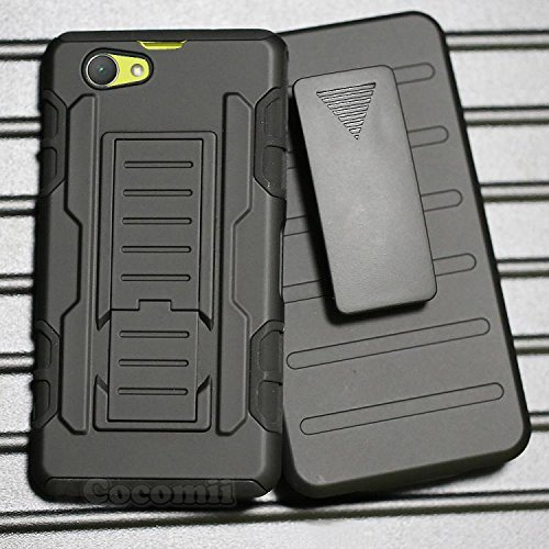 Sony Xperia Z1 Compact Hülle, Cocomii Robot Armor NEW [Heavy Duty] Premium Belt Clip Holster Kickstand Shockproof Hard Bumper Shell [Military Defender] Full Body Dual Layer Rugged Cover Case Schutzhülle D5503 (Black) Iphone 5s Mirror Screen Protector