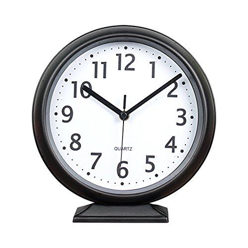 WEIJUN SHOP Metall Tischuhr, Non-Ticking, Retro Schmiedeeisen Desktop-Uhr, Moderne Wohnzimmer Minimalistische Kreative Pendulum Pieces9,7 × 9,56 × 2,7 Zoll (Retro Schwarz)