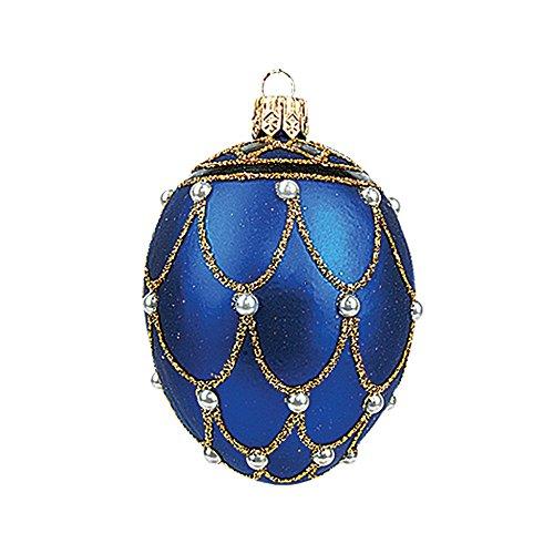 Mini Blue Pearl Egg Faberge Inspired Polish Glass Ornament Easter Decoration -