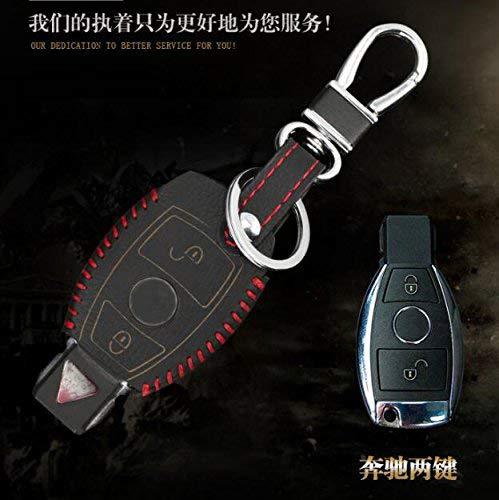Auto-Schlüsselanhänger aus Leder, Schlüsselanhänger, Schlüsselgehäuse, Abdeckung, für Mercedes-Benz W203, W210, W211, AMG, W204, C-, E-, S-, CLS-, CLK-, CLA-, SLK-Klasse, Schlüsseltasche, Two Button