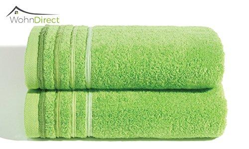 Frottee-handtücher Bad (Flauschiges Handtücher Set 2tlg | 2 x Handtücher 50 x 100 cm | Frottee Handtuch Set für Bad und Sauna | Schnelltrocknend und Waschbar – Saugfähig | WohnDirect – GRÜN)