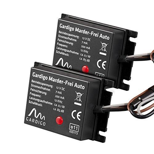 Preisvergleich Produktbild Gardigo Marder-Frei Auto 2er Set, Marderschreck, Anschluss an 12V Autobatterie, schonender Marderschutz als KFZ - Zubehör