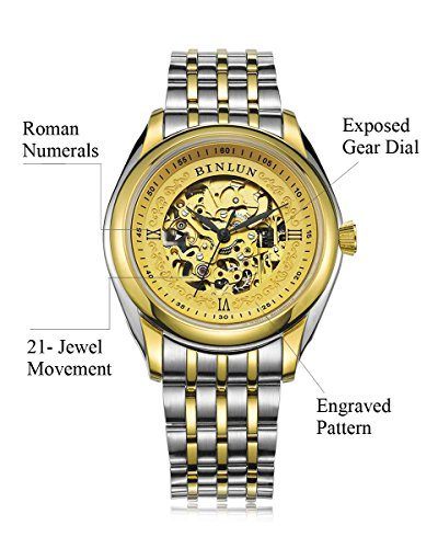 BINLUN Mens Luxury Skeleton Watch 18K Plated Automatic Watches for Men
