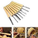 Set di scalpelli per tornio, set di scalpelli per legno con manici in legno duro ad alta velocità, scalpelli per tornitura di legno di qualità professionale (8 pezzi)