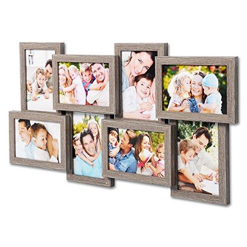 WOLTU BR9643ei Bilderrahmen Holz Rahmen, Für 8 Bilder, Querformat und Hochformat, 10x15cm Foto Collage, Fotorahmen, Bildergalerie, Eiche