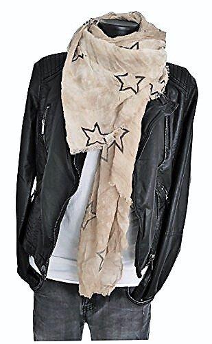 Batik Longschal Halstuch Schal Stola Damen Accessoire Sterne dark beige caramel hellbraun (114)