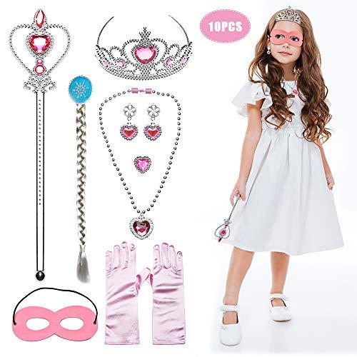 JUSTIDEA 10Stück Prinzessin Kostüme Zubehör Mädchen Set Prinzessin, Handschuhe Tiara Zauberstab(Pink)