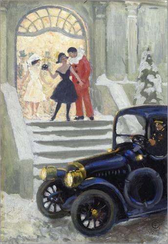 Forex-Platte 60 x 90 cm: After the Ball, 1917 von Paul Fischer / Bridgeman (Kostüm Chauffeur Weiße)