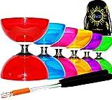Diabolo Set Cyclone QUARTZ II (6 couleurs) - PRO Triple Roulement Diabolo + Diablo Baguettes en Aluminum et Ficelle + Flames N Games Sac de Transport. (Rouge)