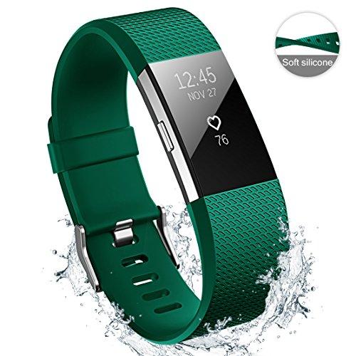Hanlesi Für Fitbit Charge 2 Armband, Charge2 Armbänder Weiches Silikon TPE Sports Ersetzerband Original Replacement Uhrenband Für Fitbit Charge 2 Zubehör Damen Herren Large Small (Kein Tracker)