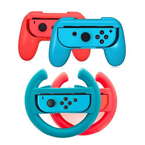 Lammcou Grip per Switch Compatibile con i Joy-con del NS Switch per Mario Kart Super Mario Odyssey Street Fighter 2 Just Dance 2018 Paw Patrol per 4 Set Custodia Joystick Switch Rosso Blu