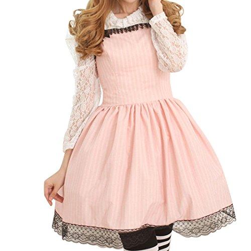 Partiss Damen Sweet Love Lace Quadratischer Hals Lolita Jumper Skirt L Pink (Victorian Lace Brautkleid)