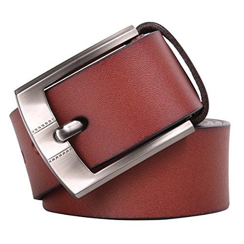 Leathario cinturón de piel para hombre con hebilla de metal-marrón