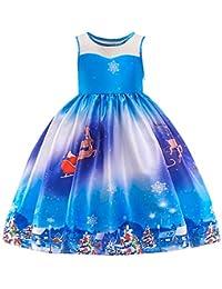 Beikoard Kleinkind Kinder Baby Mädchen Santa Print Prinzessin Kleid Weihnachten Outfits Weihnachten Weihnachtsmann Schneemann Lace Print Prinzessin Kleid