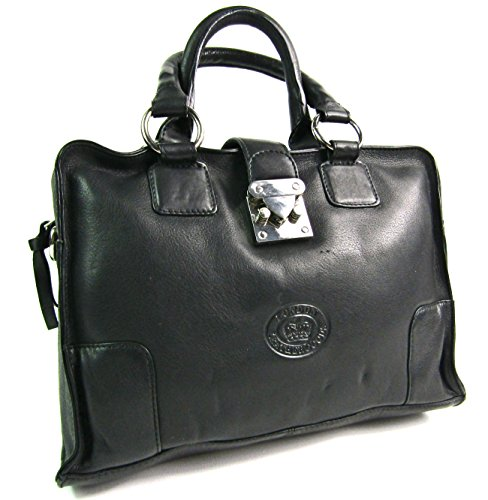 London Leather , Damen Schultertasche schwarz (Handtasche Front-flap Satchel)
