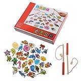 GROOMY Kinder Holz Magnetic Fishing Game Set 32Pcs Fisch Spielzeug frühes pädagogisches Lernen