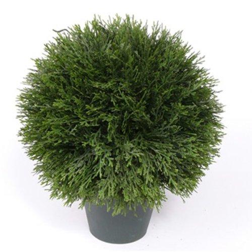 artplants – Künstliche Zypressenkugel mit 289 Blätter im Topf 36 cm, Ø 30 cm – Künstliche Kugel/Kunstpflanzen