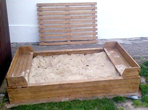 5.5.4.3023: prod. in BRD – Sandkasten mit Abdeckung – Sandkasten aus nordischer Fichte – Buddelkiste – Kindersandkasten mit Sitzbänken