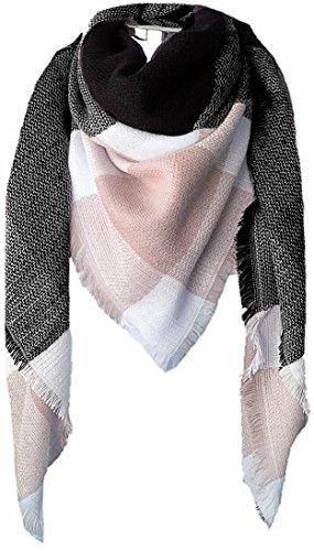 CAPRIUM XXL Damen Schal Kariert übergroßer quadratisch Deckenschal Karo Tartan Streifen Plaid Muster Oversized Fransen Poncho (Schwarz Rosa)