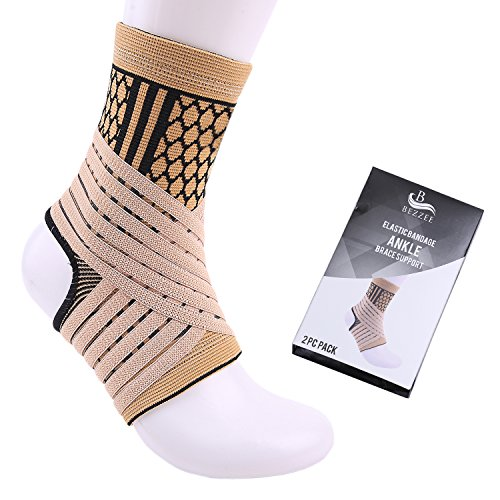 Bezzee adjustable ankle brace support, ankle support bandage, one size fits all, breathable, made of terylene and latex Velcro and elasticated strap, sprains and injury relief, medically tested