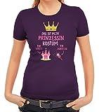 ShirtStreet Fasching Karneval Damen T-Shirt mit Das ist Mein Prinzessin Kostüm 1 Motiv, Größe: XXL,Lila