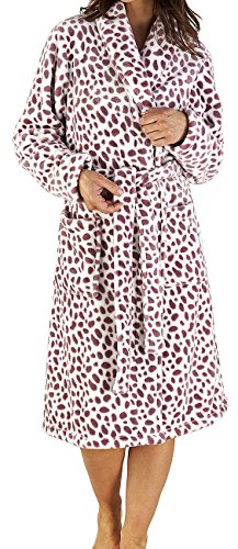Damen Luxus superweiche 280GSM Fleece in blau, rosa oder braun fleckig Bademantel Bath Robe Haus Mantel in kleinen bis XL UK10-22 Rosa und weiß