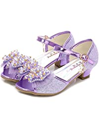 YOGLY Sandalias de Niña Sandalias de Tacón Alto Zapatos de Princesa Lazo Niñas 2018 Verano Lentejuelas de Perlas Zapatos de Cristal de Fantasía