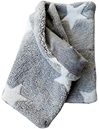 WOLLHUHN Warmes Halstuch, Schlupfschal, Schal in grau mit weißen Sternen für Jungen und Mädchen, Wellnessfleece, 20160903
