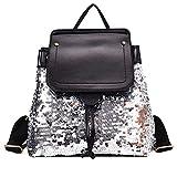 Damen Rucksack, Elegant Pailletten Pu Leder Klappe Rucksack Casual Daypack Mit Verstellbaren Trägern Silber