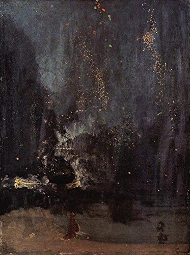 Das Museum Outlet-NOCTURNE in schwarz und gold, The Falling Rocket von Whistler-Leinwand (61x 81,3cm) - In Schwarz Gold Nocturne Und