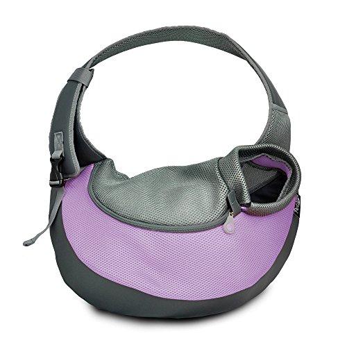 Haustier Tragetasche Portable Umhängetasche Tote Bag Bequeme Mesh Travel Tote Bag Schulter Tragetasche Welpen Kätzchen (Color : Purple, Size : S) (Bag Kätzchen Tote)