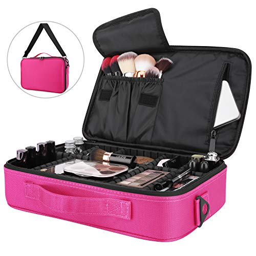 High Style Handtaschen (Luxspire Makeup Cosmetic Storage Bag, Portable Waterproof Double Layer Make up Case Cosmetic Pouch Travel Storage Box Toiletry Organizer Tool with Shoulder Straps, 13.58