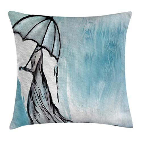 Lake House Decor Throw Pillow Cushion Cover by, Dramatic Lady Woman in Long Dress with an Umbrella in Rainy Weather Day Picture, Decorative Square Accent Pillow Case, 18 X 18 Inches, Blue Cherry Pie Dress