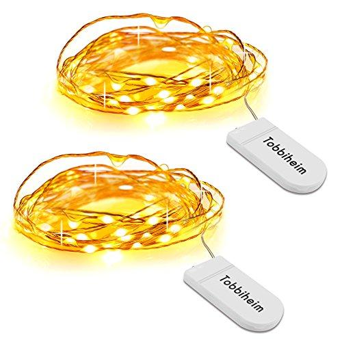 Batteriebetriebene Lichterkette 20 LEDs 2,3 Meter Innenbeleuchtung Sternlicht – Warmweiß (Halloween Haus Dekoration Ideen)