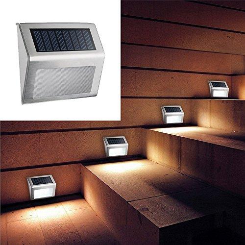 LU2000 Solar Treppenlicht, 3-LED Wasserdichte Edelstahl Treppenlicht Licht Lampe Wandleuchte, Sicherheitsleuchte für Treppen, Patio, Deck, Hof, Garten, Haus, Auffahrt