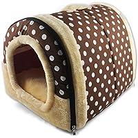 ANPI 2 en 1 Casa y Sofá para Mascotas, Casa Cama de Perro Gato Puppy Conejo Mascota Antideslizante Plegable Suave Calentar con Cojín Extraíble Colchón (M, Puntos Marrones)